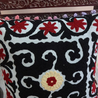 Floral Suzani Embroidered Cushion Cover with Pom Pom, Lace Cushions, Decorative Bohemian Pillow Covers, Indian Cotton Cushion Covers