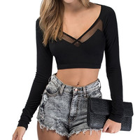 Black V-Neckline Long Sleeve Crop Top with Sheer Mesh Cut-Outs