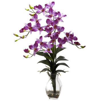 Silk Flowers -Purple Dendrobium Orchid With Vase Artificial Plant