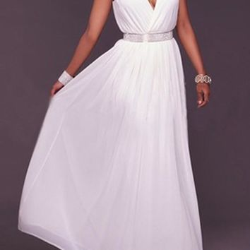 White Draped Deep V-neck Pleated Sleeveless Bohemian Prom Chiffon Maxi Dress