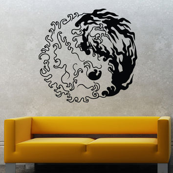 Vinyl Wall Decal Sticker Fire and Water Yin Yang #1463