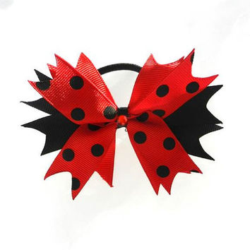 Red Black Polka Spike Cheer Bow Rockabilly Pin Up
