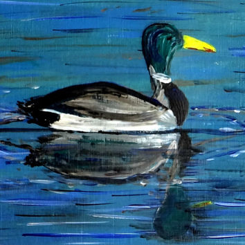 New year gift sale Original Acrylic painting Mallard duck wildlife art Canvas painting Lake Elizabeth William Henry Davies Poem painting