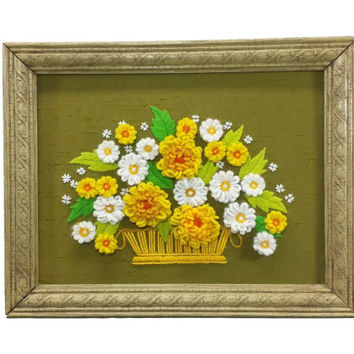 Vintage Floral Yarn Art, Daisies & Wildflowers, Large Framed Crewel Embroidered Flower Picture, Wall Hanging Decor, Completed Needlework