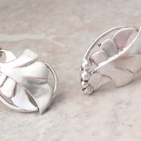 Leaf Earrings with Berries Sterling Silver Screw Back Abstract Vintage