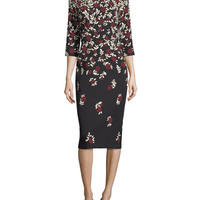 Lela Rose Fitted 3/4-Sleeve Dress