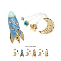 Rhinestone Spaceship Rocket Moon Star Stud Earrings Set Gold