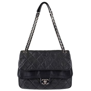"New CHANEL Black Lagerfeld Calfskin ""IN THE MIX"" Jumbo Double Flap Bag S/S 2012"