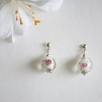 Earrings Lampwork Glass Rose Bead Stud - wedding Earrings - bridal earrings - wedding guest jewelry - wedding earrings - ceramic earrings ro