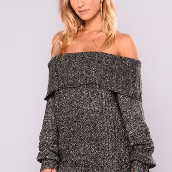 Adore A Ball Off Shoulder Sweater - Black