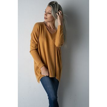 Everyday V-Neck Soft Mustard Sweater