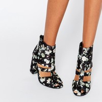 Lost Ink Denny Floral Cut Out Heeled Ankle Boots