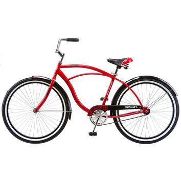 Mens 1-Speed Beach Cruiser Bike in Red Black & White