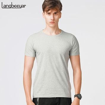 Men Summer Tops White Joggers Slim Fit Short Sleeve Blank T Shirt Cotton Casual Men Clothes