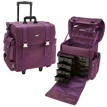 Seya 19.5 Inch Soft Nylon Professional Artist Rolling Wheeled Trolley Makeup Train Case Cosmetic Organizer W/ 8 Drawers (Purple)