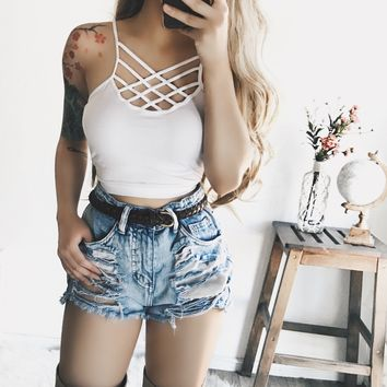 RESTOCKED! Ariel Caged Top (WHITE) - FULLY STOCKED