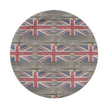 British Flag Old Wood Paper Plate 7 Inch Paper Plate
