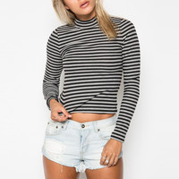 Striped Long Sleeves Neck Ribbed Knit Crop Tee