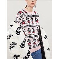 GCDS Trending Women Men Stylish Mickey Cartoon Jacquard Long Sleeve Round Collar Sweater Top Sweatshirt Pink