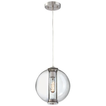 Philips 190154836 Cosmos Satin Nickel One-Light Incandescent Pendant with Clear Blown Outer Globe with Clear seedy Inner Glass Cylinder