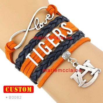 (10 Pieces/Lot) Infinity Love Auburn Tigers Athletic Team Bracelet NCAA Burnt Orange Navy Blue - Custom Sports Team & Cheer Team