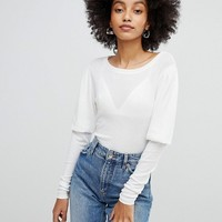 New Look Sleeve Detail Jersey Top at asos.com