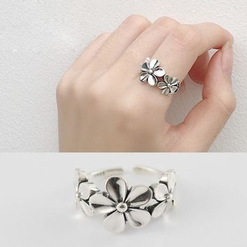 Vintage Daisy Flower 925 Sterling Silver Adjustable Ring