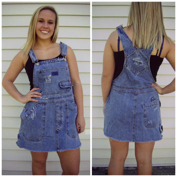 90s denim BIB DRESS vintage blue jean romper distressed jumper worn in overall size L large grunge hipster summer playsuit medium blue wash