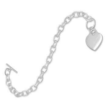 "7.5"" Sterling Silver Toggle Bracelet with Small Heart Tag"