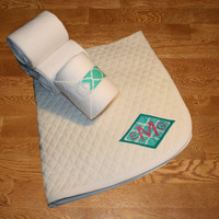 Pony Polo Set - Teal Quatrefoil Diamond Applique Polo Set
