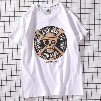 Aape x One Piece Joint New Trends Men's and Women's Round Neck Short Sleeve T-Shirt White