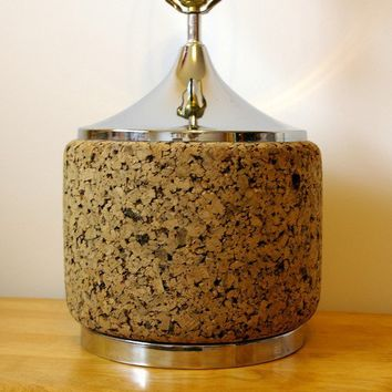 SALE Mid Century Cork and Chrome Lamp by bitofbutter on Etsy