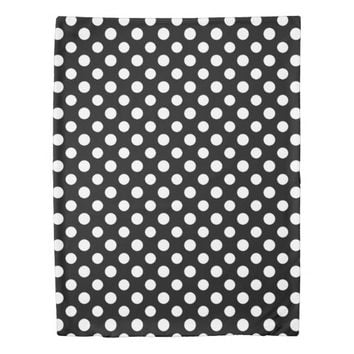 Black and White Polka Dot Pattern Duvet Cover