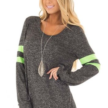 Charcoal Top with Neon Green Stripe Detail