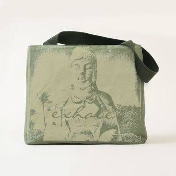 """Exhale"" Buddha photo olive green canvas tote"