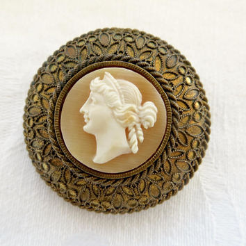 Antique Cameo Brooch Brass Cannetille Setting Shell Cameo Pin Victorian Cameo Jewelry Left Facing Cameo