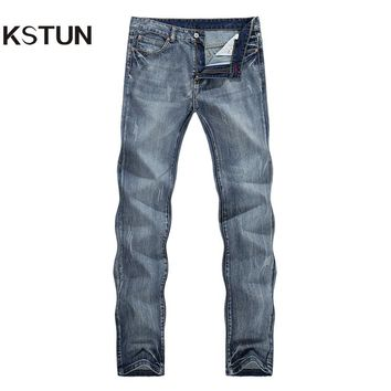 KSTUN Jeans for Men Light Blue Straight Fashion Solid Casual Pants Tapered Full Length Students Boys Male Trousers Plus Size 40