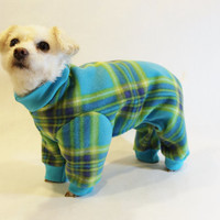 RockinDogs Turquoise and Lime Plaid Fleece Dog Pajamas