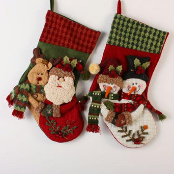 2 Christmas Stockings - Snowman And Santa