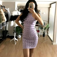 Fashion Punk Rivet Sleeveless Tight Package hip Mini Dress