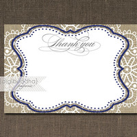 Lace Burlap Thank You Card INSTANT DOWNLOAD Navy Gray Shabby Chic Script Calligraphy Bridal Shower 4x6 Fill-In Thanks DIY - Jackie Style
