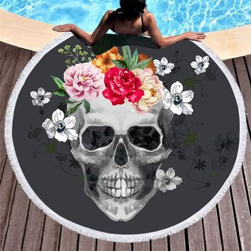 Skull Floral Tassel Tapestry Round Beach Towels