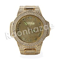 HIP HOP ICED OUT RAONHAZAE ACELO LUXURY GOLD FINISHED LAB DIAMOND WATCH