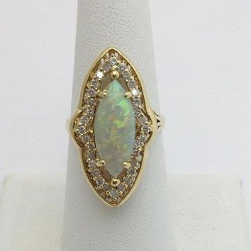 Luxinelle Big Marquise 1.76 Carat Opal Diamond Ring - 14K Yellow Gold by Luxinelle®Jewelry