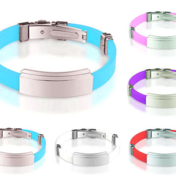Adjustable Silicone Bracelet with Stainless Steel ID Tag
