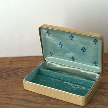 Mid Century Travel Jewelry Box, Velvet Lined Jewelry Box, Hollywood Regency Jewelry Box Excellent Condition
