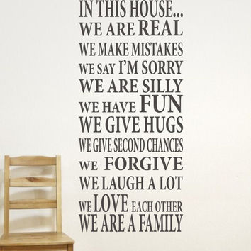 In This House Home Decor Family Wall Decal...We are Family Vinyl Wall Decal - Vinyl Wall Art - Vinyl Lettering