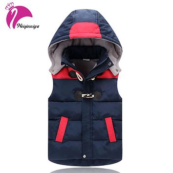 New Winter 2017 Children Girls Jacket Coat Fashion Solid Hooded Cotton Down Warm Kids Clothes Casual Unisex Waistcoat Outwears