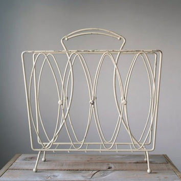 Vintage Mid Century Magazine Rack, Vintage Magazine Rack, Home Decor, Wire Magazine Rack