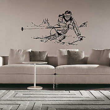 Ski skis Mountains alpine Sport Olympic Games Wall Sticker decal Decor Wall 3142